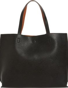 Street Reversible Faux Leather Tote a  Wristlet
